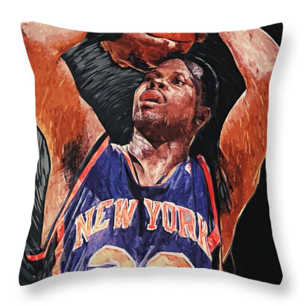 Patrick Ewing Throw Pillow by Taylan Soyturk
