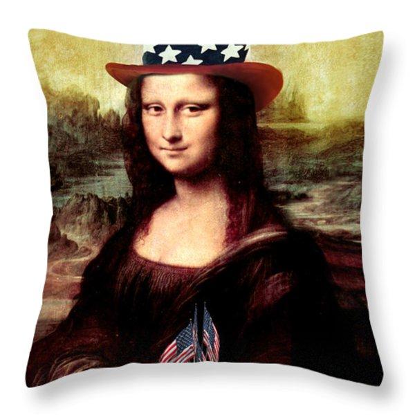 Patriotic Mona Lisa Throw Pillow by Gravityx Designs