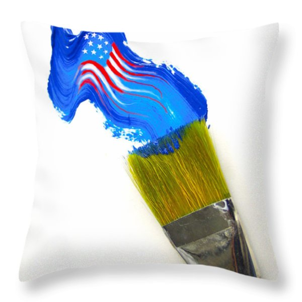 Patriotic Paint Throw Pillow by Diane Diederich