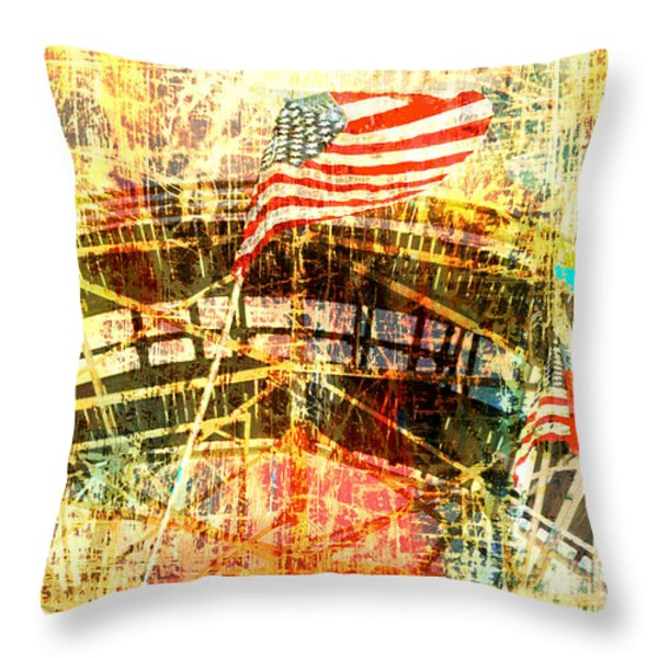 Patriotic Roller Coaster Throw Pillow by Anahi DeCanio