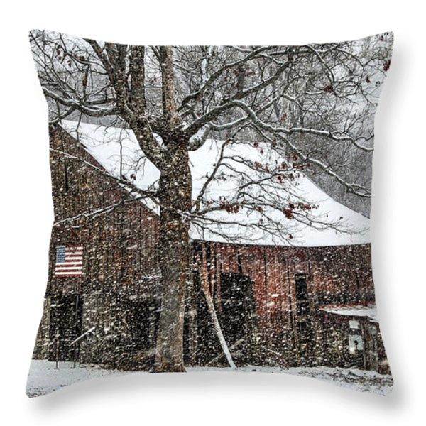 Patriotic Tobacco Barn Throw Pillow by Debbie Green