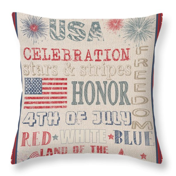 Patriotic Typography-b Throw Pillow by Jean Plout