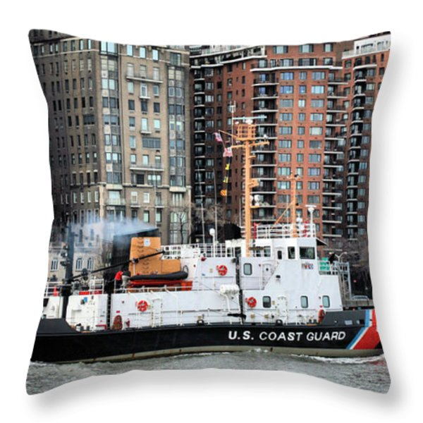 Patrolling The East River Throw Pillow by JC Findley