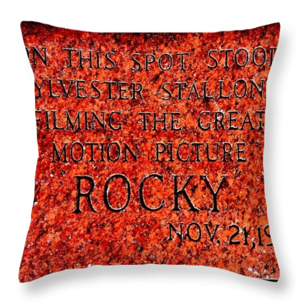 Pats Steaks - Rocky Plaque Throw Pillow by Benjamin Yeager
