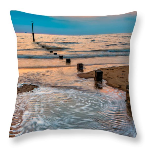 Patterns on the Beach  Throw Pillow by Adrian Evans