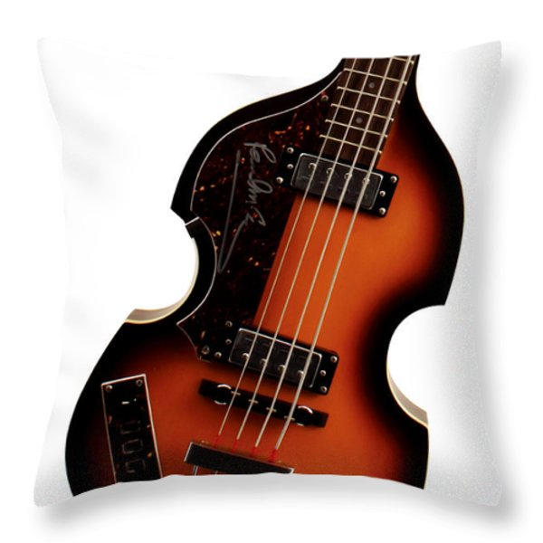 Paul McCartney Hofner Bass  Throw Pillow by Bill Cannon
