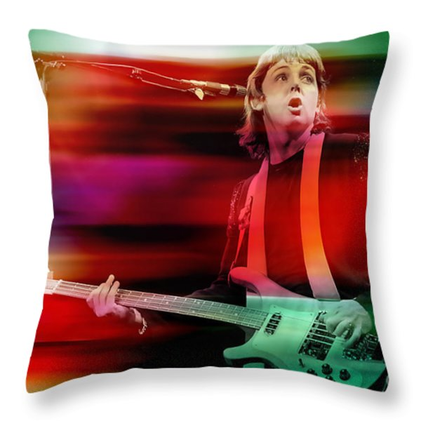 Paul Mccartney Then And Now Throw Pillow by Marvin Blaine