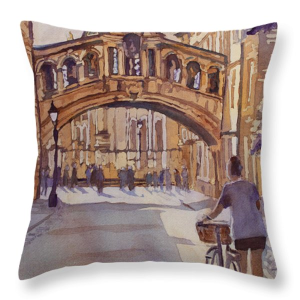 Pausing Before The Bridge Throw Pillow by Jenny Armitage