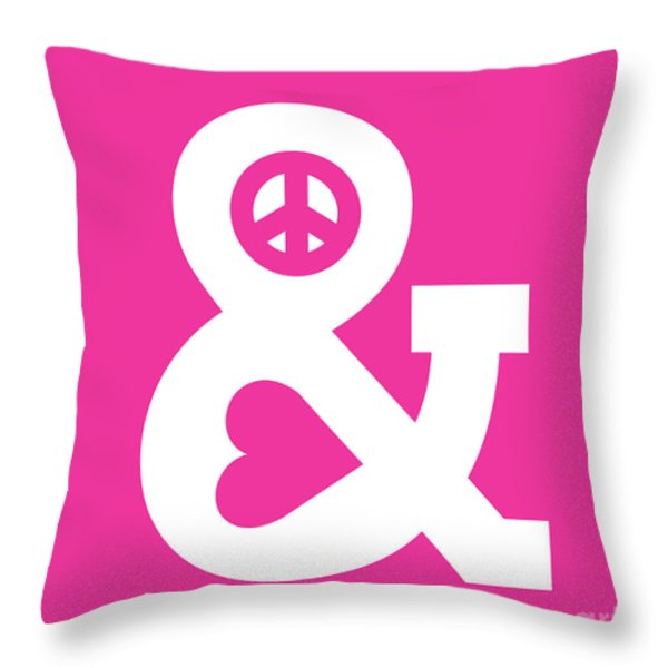 Peace and Love pink edition Throw Pillow by Budi Satria Kwan