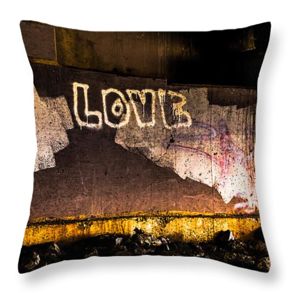 Peace And Love Under The Bridge Throw Pillow by Bob Orsillo