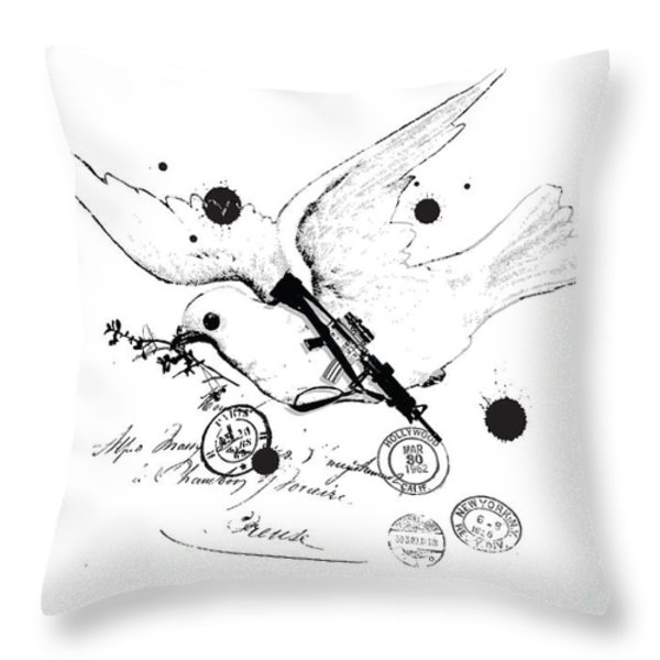 Peace and war Throw Pillow by Budi Satria Kwan
