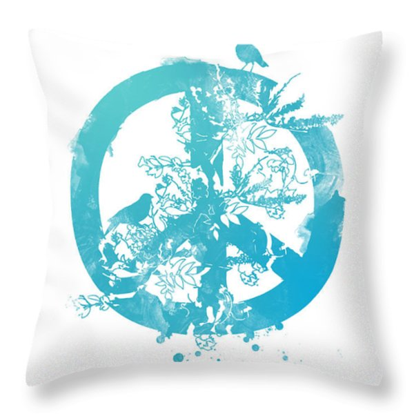 Peace Grows Throw Pillow by Budi Kwan