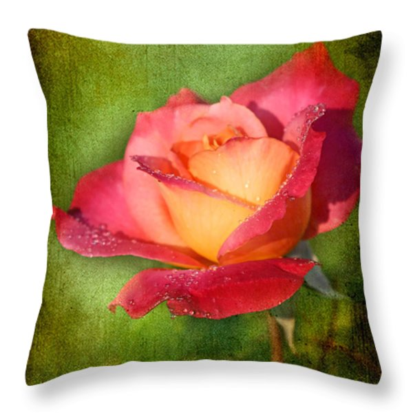 Peace Rose Throw Pillow by Joan McCool