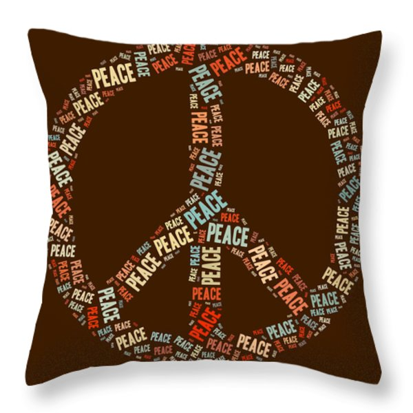 Peace Symbol Retro - 0103b  Throw Pillow by Variance Collections