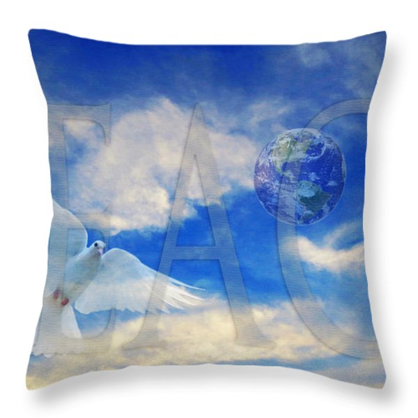 Peace - World Peace Art By Sharon Cummings Throw Pillow by Sharon Cummings