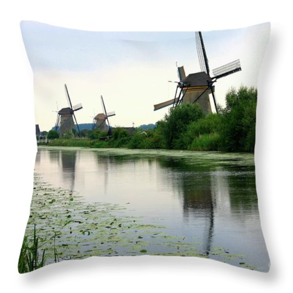 Peaceful Dutch Canal Throw Pillow by Carol Groenen