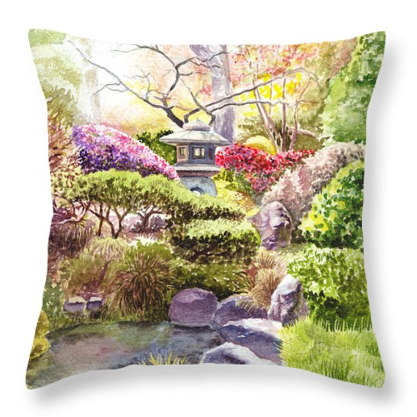 Peaceful Garden Throw Pillow by Irina Sztukowski