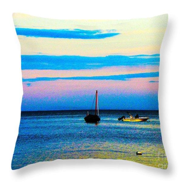 Peaceful Ocean Evening Throw Pillow by Annie Zeno