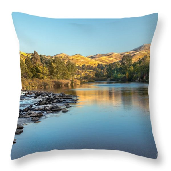 Peaceful River Throw Pillow by Robert Bales