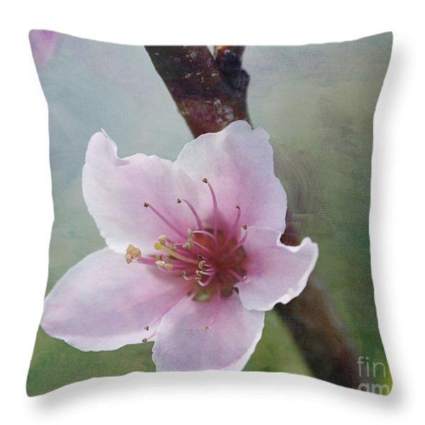 Peach Blossom 2 Throw Pillow by Cindi Ressler