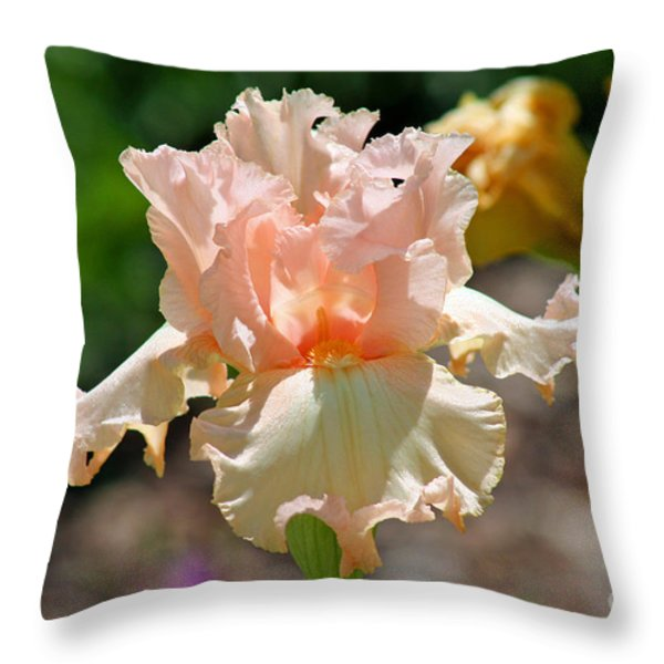 Peach-colored Iris Throw Pillow by Karen Adams