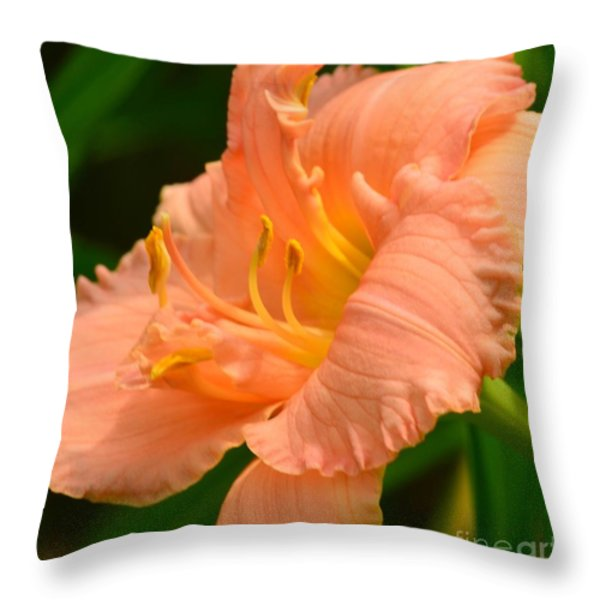 Peach Day Lilly Throw Pillow by Kathleen Struckle