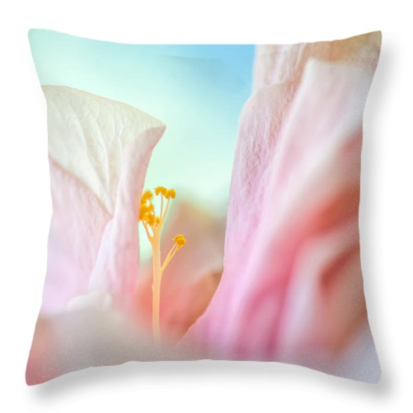 Peach Hibiscus. Macro Throw Pillow by Jenny Rainbow