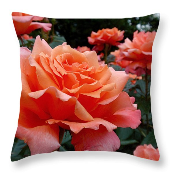 Peach Roses Throw Pillow by Rona Black