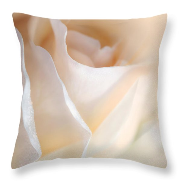 Peaches And Cream Rose Flower Throw Pillow by Jennie Marie Schell