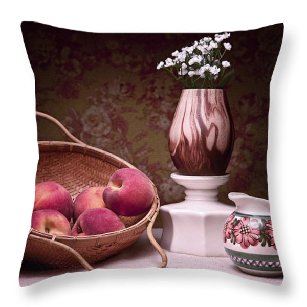 Peaches and Cream Sill Life Throw Pillow by Tom Mc Nemar