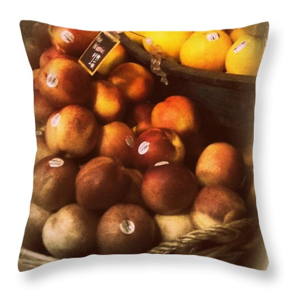 Peaches And Lemons - Old Photo - Top Finisher Throw Pillow by Miriam Danar