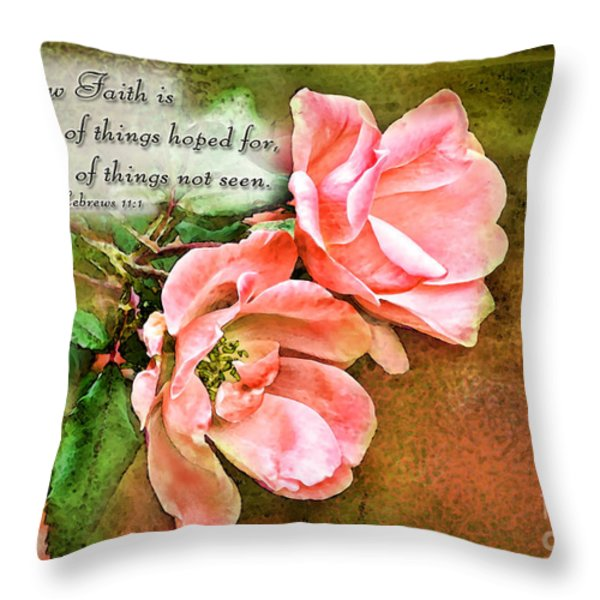 Peachy Keen With Verse  Throw Pillow by Debbie Portwood