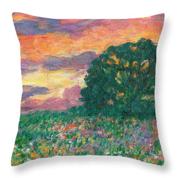 Peachy Sunset Throw Pillow by Kendall Kessler