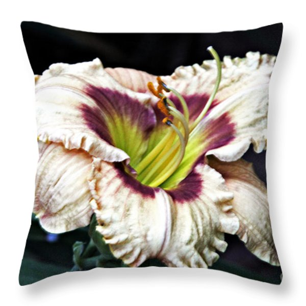 Peachy With Ruffles Lily Throw Pillow by Elizabeth Winter