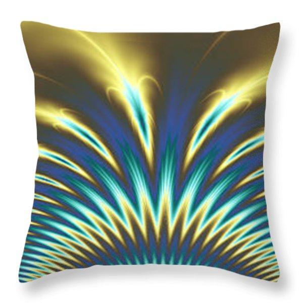 Peacock Abstract 2 Throw Pillow by Faye Giblin