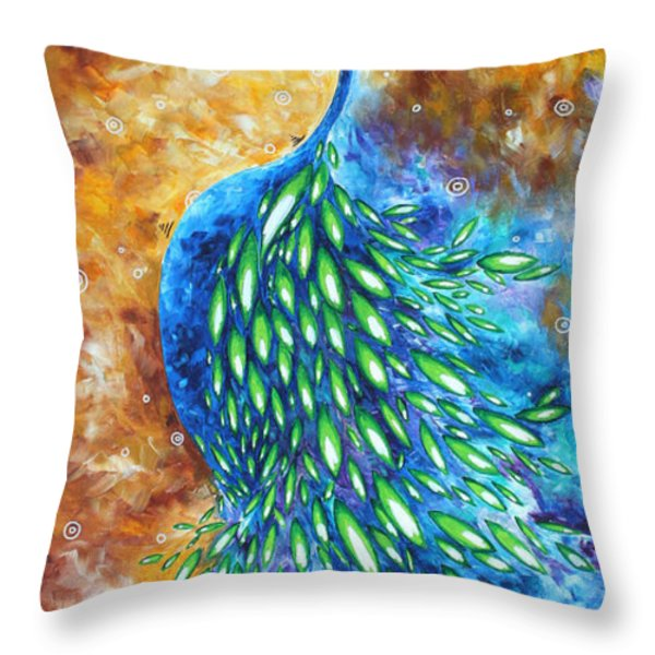 Peacock Abstract Bird Original Painting In Bloom By Madart Throw Pillow by Megan Duncanson