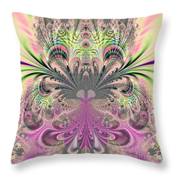 Peacock Feathers Bouquet Fractal 157 Throw Pillow by Rose Santuci-Sofranko