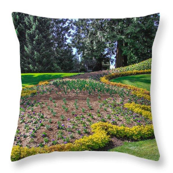 Peacock Garden Throw Pillow by Eti Reid