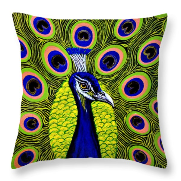 Peacock Mistique Throw Pillow by Adele Moscaritolo