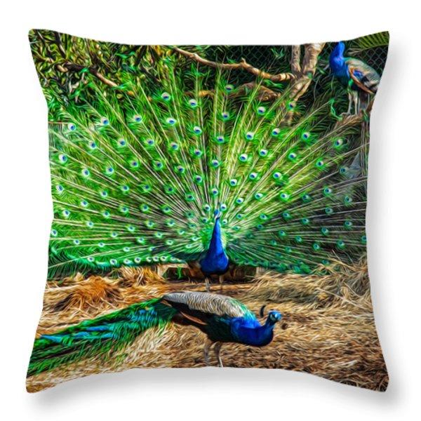 Peacocking Throw Pillow by Omaste Witkowski