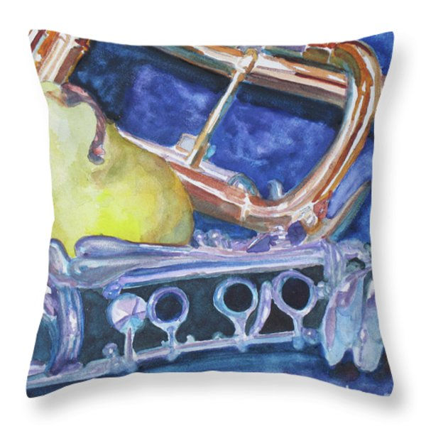 Pear Roadie Throw Pillow by Jenny Armitage
