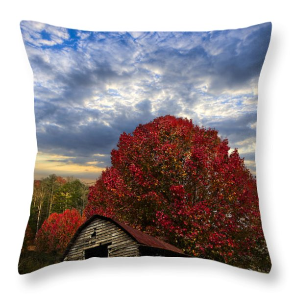 Pear Trees on the Farm Throw Pillow by Debra and Dave Vanderlaan