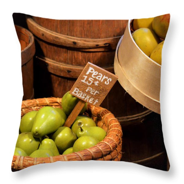 Pears - 15 cents per basket Throw Pillow by Christine Till