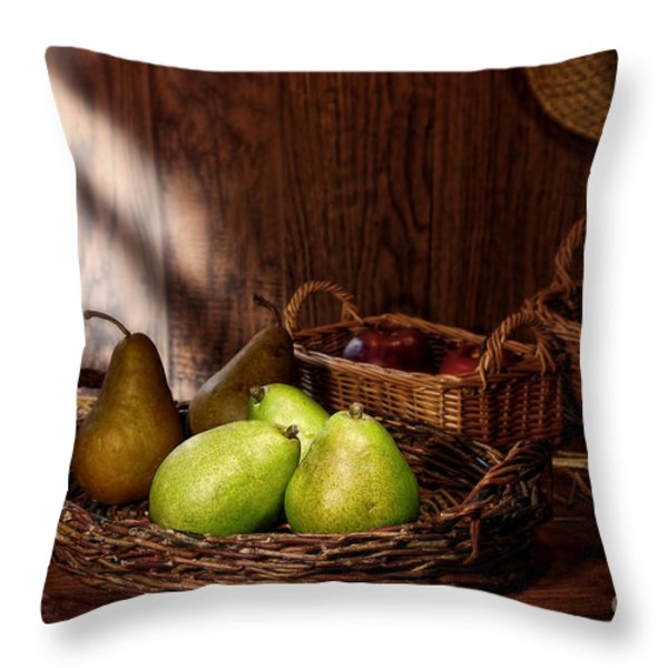 Pears at the Old Farm Market Throw Pillow by Olivier Le Queinec