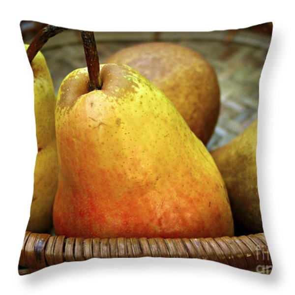 Pears In A Basket Throw Pillow by Elena Elisseeva