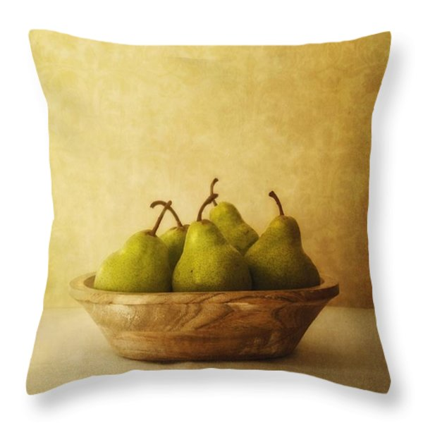 Pears In A Wooden Bowl Throw Pillow by Priska Wettstein