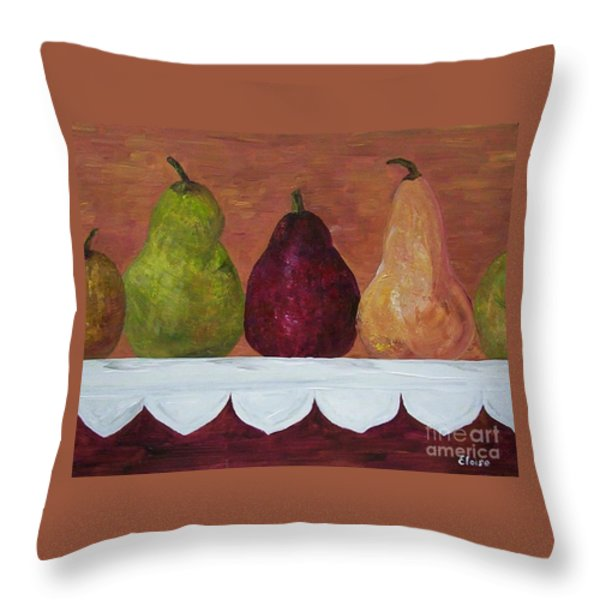 Pears On Parade Throw Pillow by Eloise Schneider