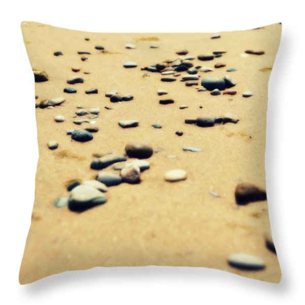 Pebbles on the Beach Throw Pillow by Michelle Calkins