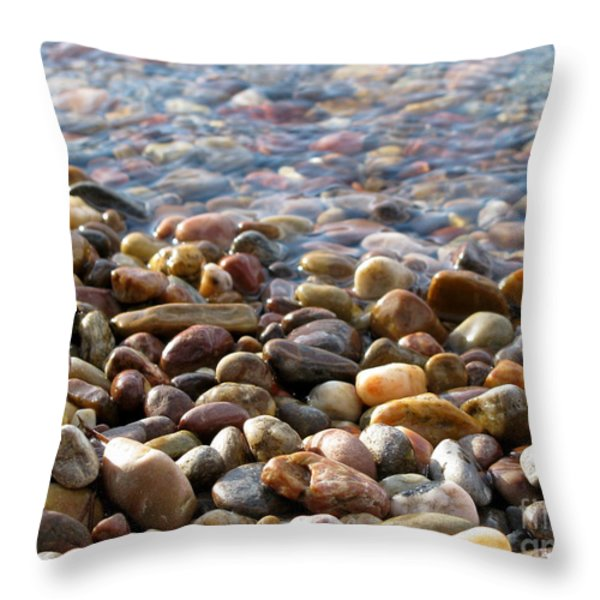 Pebbles On The Shore Throw Pillow by Leone Lund