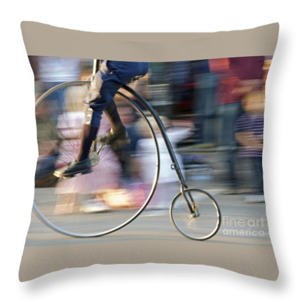Pedaling Past Throw Pillow by Ann Horn